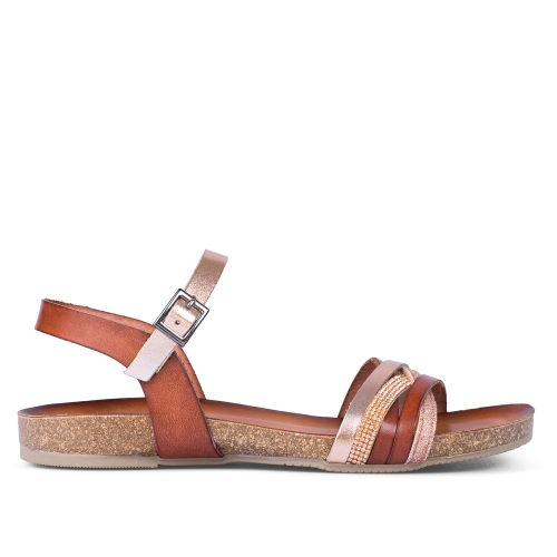 sandalias multitiras color cuero amaia