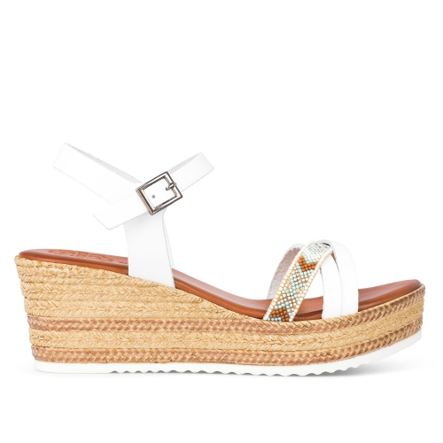 sandalias de cuña color blanco con banda multicolor megan